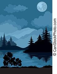 lune, paysage, arbres, montagnes