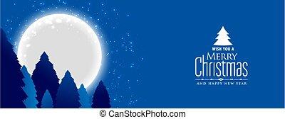 lune, paysage, noël, nuit, joyeux, entiers