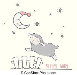 lune, rêveur, barrière, dénombrement, texte, croissant, mignon, sauter, piquet, gris, casquette, sous, nuit, vecteur, étoiles, somnolent, sur, mouton, illustration, scène, peu, blanc, bébé