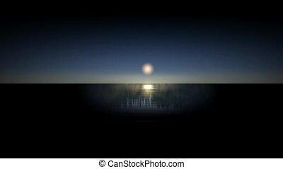 lune, reflet, sea.