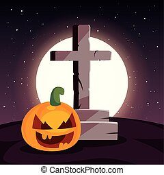 lune, scène, chrétien, croix, cimetière