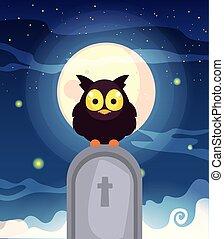 lune, scène, hibou, grange, cimetière