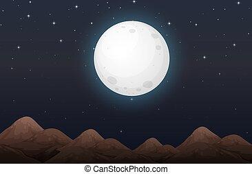 lune, scène, nightime