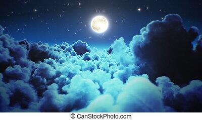 lune, sky., sur, nuages, ultra, minuit, lumière, 3d, cloudscape, scintillement, vol nuit, fait boucle, voler, 3840x2160., 4k, par, seamless., timelapse, hd, animation, étoiles