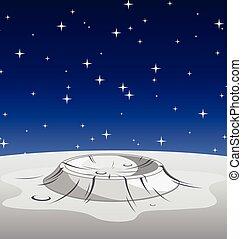 lune, vecteur, cratère, surface lunaire