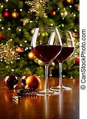 lunettes, arbre, vin, noël, table, rouges