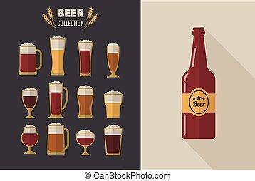 lunettes, collection, bière, vecteur, plat