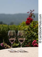 lunettes, deux, vin rouge