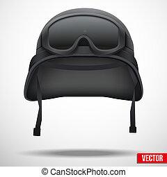 lunettes protectrices, casque, vecteur, noir, militaire