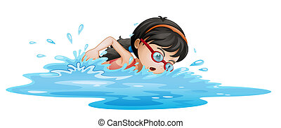 lunettes protectrices, girl, natation