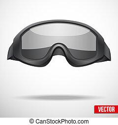 lunettes protectrices, militaire, vecteur, noir, illustration