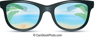 lunettes soleil, été, plage, reflet