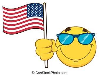 lunettes soleil, caractère, américain, type caractère jaune, drapeau ondulant, sourire, dessin animé, emoji