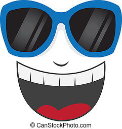 lunettes soleil, figure, rire