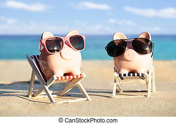 lunettes soleil, piggybanks, chaises, pont, deux, plage