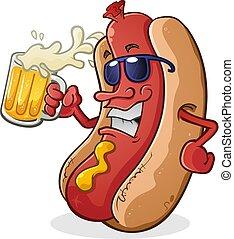 lunettes soleil port, bière, chien, chaud, boire