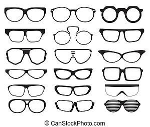 lunettes soleil, silhouettes, lunettes