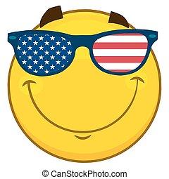lunettes soleil, usa, caractère, type caractère jaune, drapeau, patriotique, sourire, dessin animé, emoji