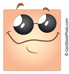 lunettes soleil, visage heureux, smiley