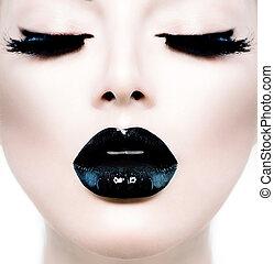 lushes, mode, beauté, grimer, long, top model noire, girl