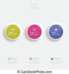 lustré, boutons, infographic, plastique, coloré