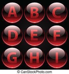 lustré, lettres, alphabet, rouges, (a-i)