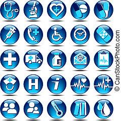 lustre, services médicaux, icônes