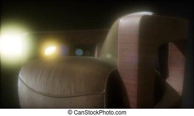lutin, sofa, vendange, sombre, cuir, grunge