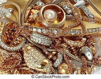 luxe, accessoires, doré