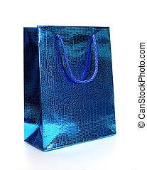 luxe, achats, bleu, sac, blanc