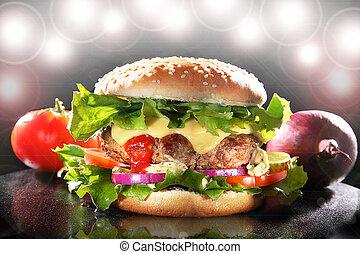 luxuriant, hamburger, étoile