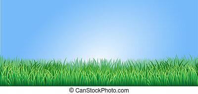 luxuriant, herbe, vert, illustration