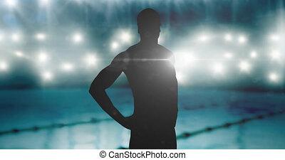 mâle, animation, piscine, nageur, projecteurs, natation, sur, silhouette