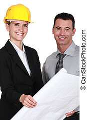 mâle, architecte, femme