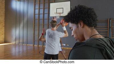 mâle, basket-ball, allumette, équipe, divers, entraîneur, jouer