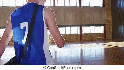 mâle, basket-ball, dribble, équipe, divers, entraîneur, pratiquez boule