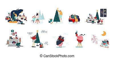 mâle, caractères, préparer, décorer, noël, fetes, heureux, célébration, année, arbre sapin, femme, ensemble, famille, nouveau