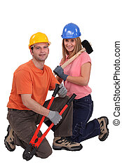 mâle, charpentier, femme
