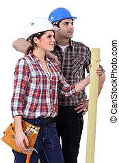 mâle, charpentiers, femme
