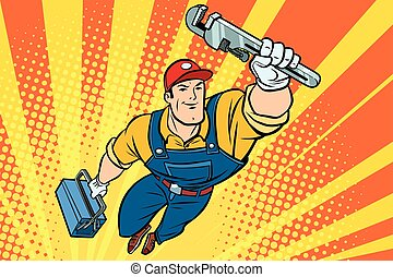 mâle, clé, plombier, superhero