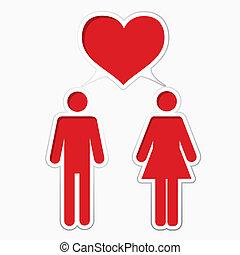 mâle, femme, aimer