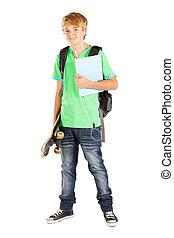 mâle, longueur, portrait, entiers, étudiant, adolescent