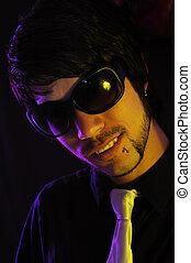 mâle, lunettes soleil, mode
