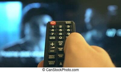 mâle, main, canaux, commutation, control., extérieur tv