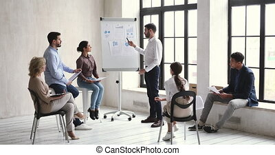 mâle, pédagogique, orateur, donner, habile, commercialisation, barbu, lecture., millennial