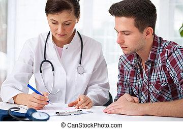 mâle, patient, docteur