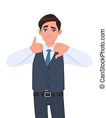 mâle, personne, vecteur, bas, jeune, signe., illustration., émotions, confection, cartoon., gesture., mauvais, homme affaires, &, symbole, caractère, projection, expressions, humain, haut, gilet, pouce, bon, conception