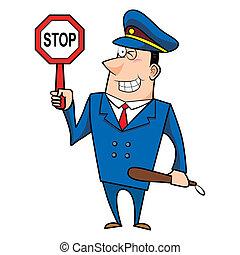 mâle, police, dessin animé, officier