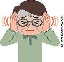 mâle, souffrance, tinnitus, personne agee