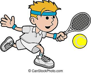 mâle, tennis, illustration, joueur